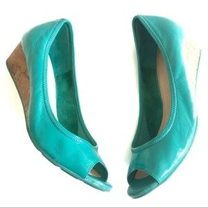 COLE HAAN Air Tali Open Toe Wedge Pump Teal Size 8